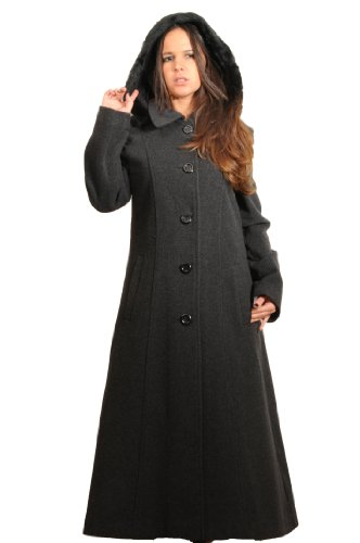 CHARCOAL WOOL WOMENS FAUX FUR TRIM HOODED LONG COAT SIZE 12-26 (22)