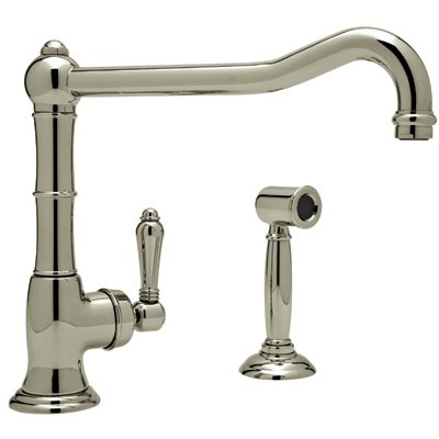 Rohl A3650/11LPWSSTN-2 Country Single Handle Kitchen Faucet with Spray Satin Nickel Porcelain Lever