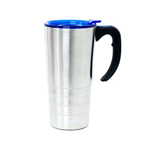 """Migo Double-Wall Stainless Steel Thermal Mug """"Executive"""" With Twist Cap 16Oz Silver"""