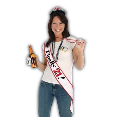 "FINALLY 21 - Satin 21st BIRTHDAY SASH/PARTY Attire/GIRLS Night DIVA/33"" X 4""/Finally LEGAL/Drinking Age"