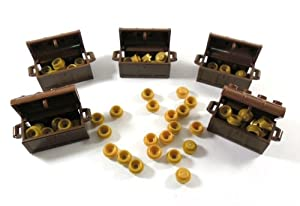 LEGO CASTLE - 5x Chest Treasure in reddish brown with 100x plates in pearl gold.