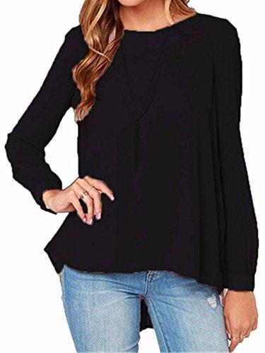 ZANZEA Donna Chiffon manica lunga Pleated irregolare Camicia Camicetta Tops Nero 44