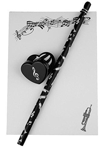 Notizblock-mit-Bleistift-und-Radiergummi-Trompete-Schnes-Geschenk-fr-Musiker