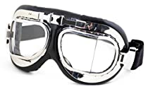 HUMVEE HMV-GGL-RAF-C UV 400 Protection Motorcycle Goggle with Adjustable Head Straps, Chrome