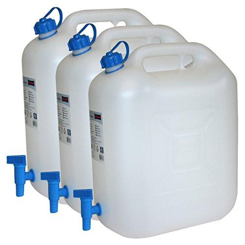 3x-Wasserkanister-ECO-20-Liter-mit-Hahn-3er-Set-Camping-Kanister-Wassertank-NEU