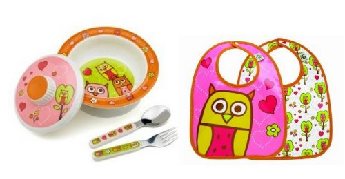 Sugarbooger Covered Bowl, Silverware, and 2 Bibs Set-Hoot Hoot Owl - 1