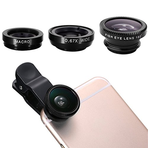 Ecandy 3 in 1 Clip-On 180 Degree Fisheye + Wide Angle + Macro Lens Camera Photo Kit For iPhone 6 6 Plus 5S,iPad Air,Samsung Galaxy S6 S5 S4 S3,Blackberry,Sony Xperia,Moto and Other Smart Phones,Black