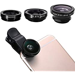Ecandy 3 in 1 Clip-On 180 Degree Fisheye Plus Wide Angle - Black