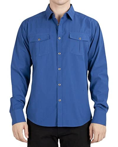 Micros Men's Blind Long Sleeve Woven Shirt with Flap Pockets