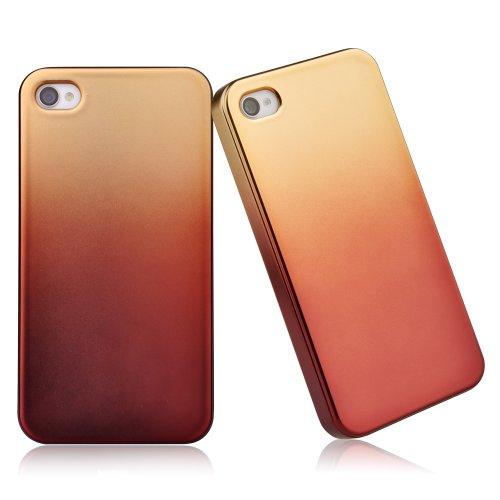 Vouni Vouni Hybrid Rugged Rubber Gel Matte Case Back Cover Skin For Iphone 4/4S Back Unique Color Design Hard Cover Case With 1 Hd Screen Protector-Golden
