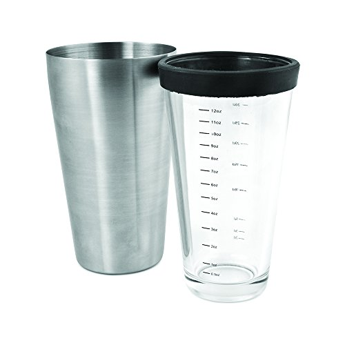 True Fabrications Boston Style 26 Oz Cocktail Drink Shaker, Includes Stainless Steel Shaker And Clear Glass With Removable Rubber Seal To Prevent Spills & Splashing front-438532