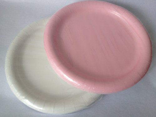 Pink & White Paper Party Plates 8.75 in - (40) Plates!