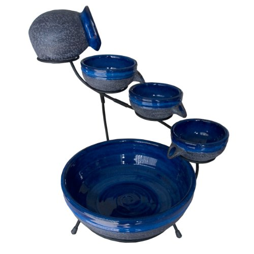 Smart Solar 4-Tier Solar Powered Cascading Fountain, Blueberry/Rustic Blue 23967R01