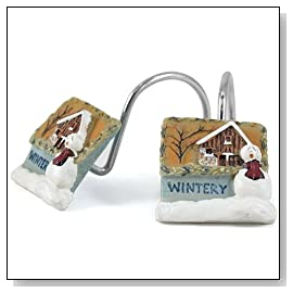 Chilly Days Frosty Nights Snowman Shower Curtain Hooks