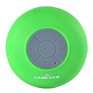 KINGLAKE® New Waterproof Wireless Bluetooth Shower Speaker Handsfree Speakerphone Compatible with All Bluetooth Devices Iphone 5s and All Android Devices (Green)