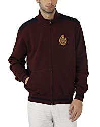 Fahrenheit Men's Fleece Sweat Shirt (8903942222177_Maroon Dark Blue_X-Large)