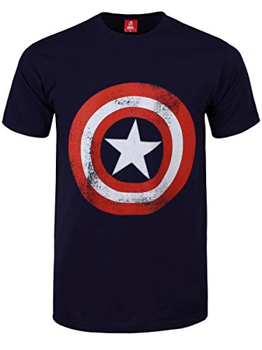 T Shirt Captain America Distressed Marvel Comics (Blu) - Large