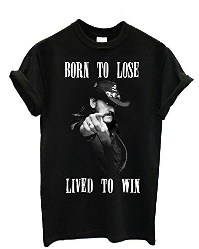 """T-shirt Uomo Lemmy """"Born To Lose"""" - Maglietta motorhead 100% cotone LaMAGLIERIA, L, Nero"""