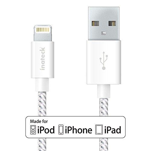 Inateck ライトニングUSBケーブル Apple認証 (Made for iPhone取得) 高耐久ナイロン 1.2m iPhone 6s /iPhone 6 / 5 / iPad Air / iPad mini 用 アルミコンパクト端子 ホワイト