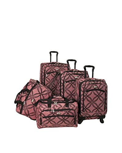 American Flyer Silver Clover 5-Piece Spinner Luggage Set, Pink As You See