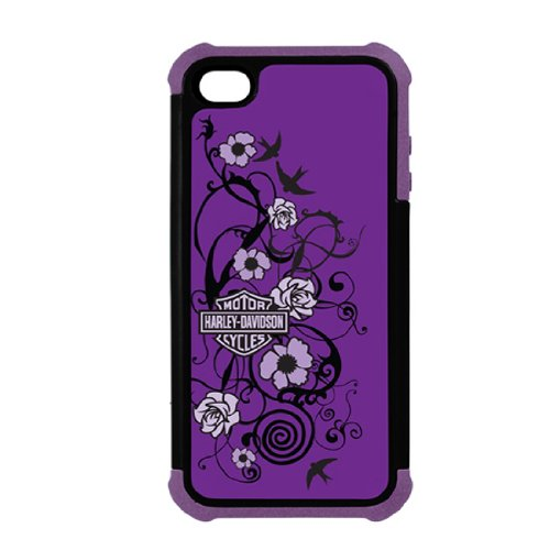 Great Price foneGear 7458 Harley Davidson Floral Rugged Shell Case for iPhone 5 - Carrying Case - Retail Packaging - Black/Purple