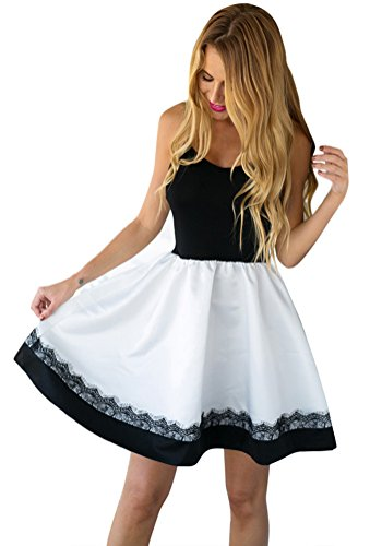 LookbookStore Women's Black And White Eyelash-Lace-Trim A-Line Cami Dress US 4