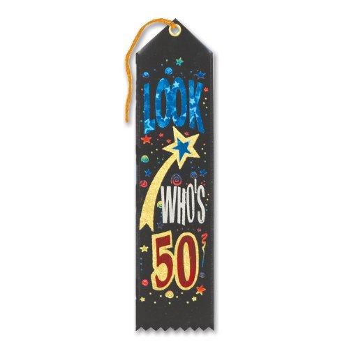 """Look Who's 50 Award Ribbon 2"""" x 8"""" Party Accessory"""