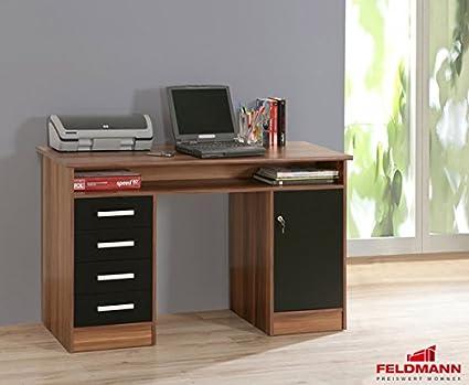 Schreibtisch 62031 PC Tisch walnuss schwarz matt