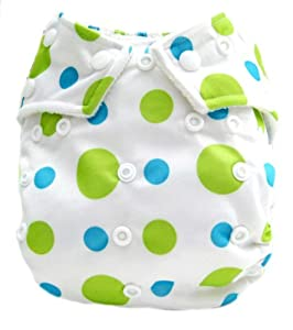 "Kawaii Baby Good Night Heavy Wetter One Size Pocket Cloth Diaper with 2 Large Microfiber Inserts "" Lime Dotty """