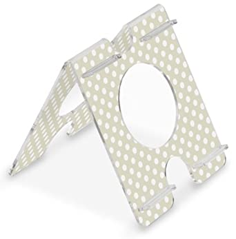 "TrippNT 51265 Four Position, Audio Enhancing, Extreme White Polka Dot Beige Background Acrylic Universal iPad Air, Samsung Galaxy Note 10.1 and Amazon Kindle Fire HDX 8.9 Stand, 7"" Width x 8"" Height x 8"" Depth"