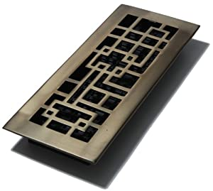 Decor Grates AB412-RB 4-Inch by 12-Inch Abstract Floor Register, Solid Brass with Rubbed Bronze Finish