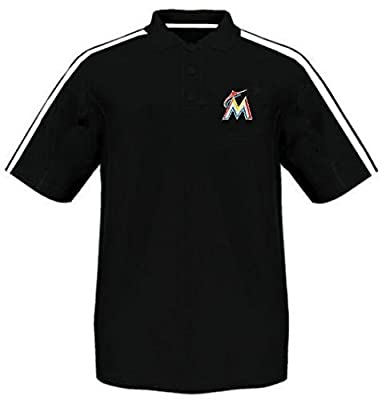 Miami Marlins Majestic Synthetic Arm Polo Shirt Black Men's Big And Tall Sizes