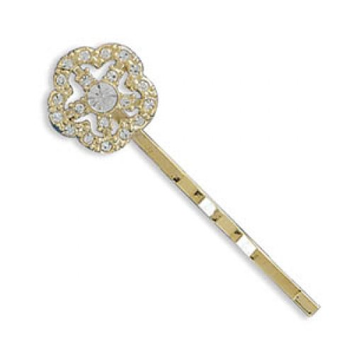 MMA Silver - 14 Karat Gold Plated Fashion Bobby Pin with Crystal Flower