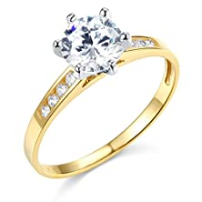 buy 14K Yellow Gold Solid Wedding Engagement Ring - Size 6.5
