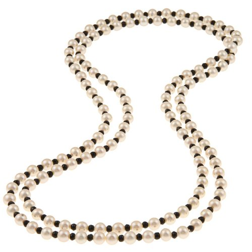 DaVonna White Freshwater Pearl and Onyx 50-inch Necklace (7-7.5 mm)