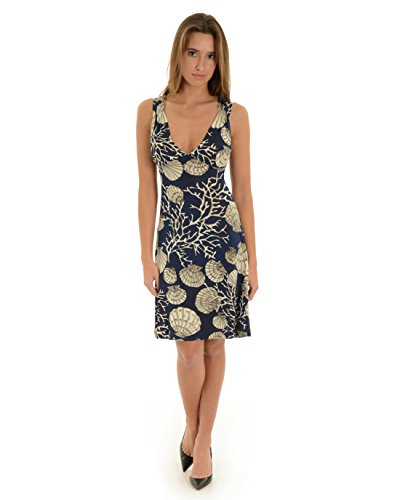 Womens Sun Dress Navy Blue Ivory Seashell Print V-Neck Keyhole Back Short Dress Sizes: X-Large
