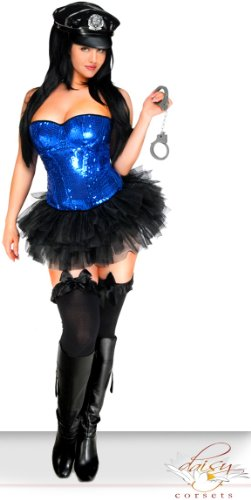 [Daisy Corsets 4 PC Sexy Blue Sequin Pin-Up Cop Costume 3X] (Pin Up Halloween Costumes)
