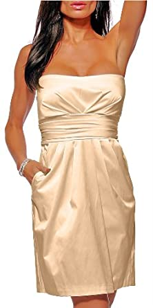 Champagne Satin Strapless Pockets Cocktail Evening Party Dress, Medium