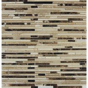 MS International Emperador Blend Bamboo 12 in. x 12 in. Brown Polished Marble Mesh-Mounted Mosaic Tile - BOX OF 5 TILES