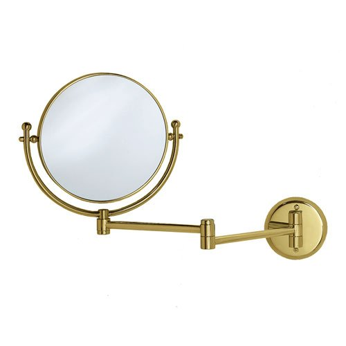"Magnifying 8"" Swinging Wall Mirror In Polished Brass"