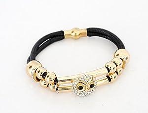 BC331 - Bracelet Aimanté Double Cordon Noir avec Perles et Charm Chouette Hibou Strass Doré - Mode Fantaisie