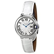Cartier Ballon Bleu Silver Dial Stainless Steel White Leather Ladies Watch W6920086