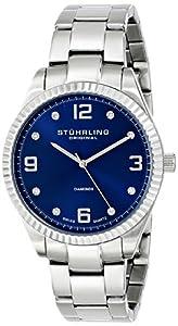 "Stuhrling Original Men's 607G.03 ""Classique Allure"" Stainless Steel Watch with Diamonds"