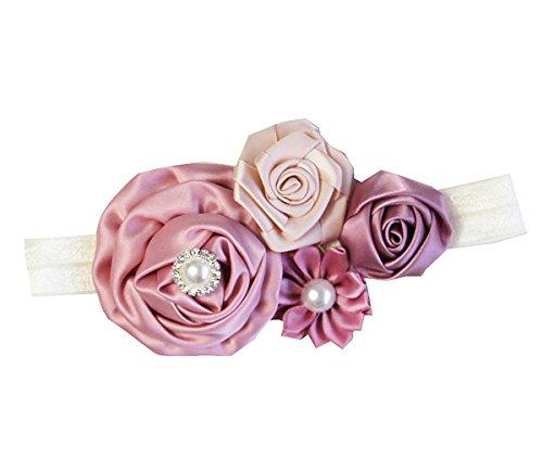 Kirei Sui Baby Girls Crystal Pearl Rosettes Headband (Dusty Pink Beige)