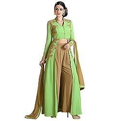 Bhelpuri Women Green Georgette Semi-stitched Salwar Kameez