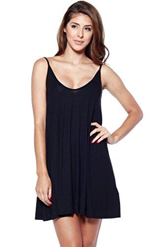 A+D Womens Spaghetti Strap V-Neck loose Knit Slip Dress (Black, Large)