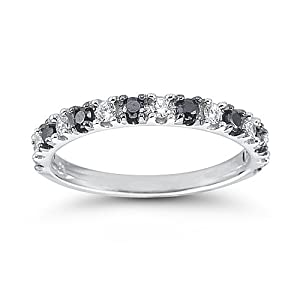 Click to buy 14k White Gold Black and White Diamond Anniversary Band from Amazon!