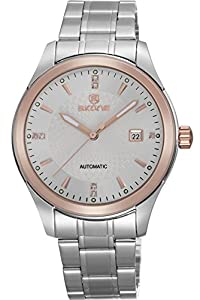 Skone Mens Casual Luxury Classy Silver Automatic Mechanical Calendar Watches
