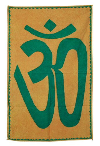 Imagen 1 de Indio decorativo Graceful Patch Work OM espiritual Tapiz de pared colgante hecha por algodón Tamaño 55 x 35 pulgadas