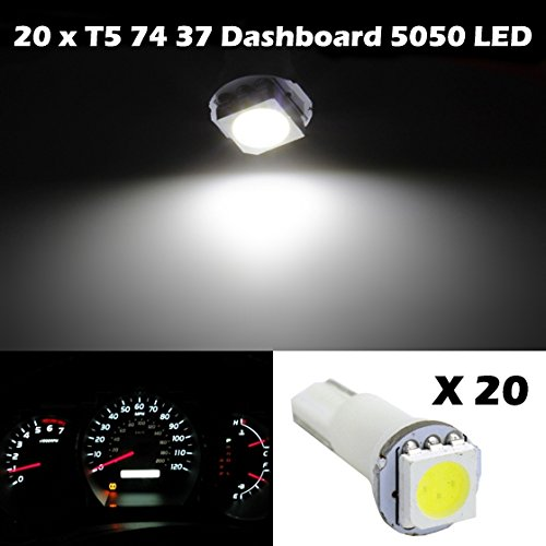 Partsam 2X Car T5 37 58 70 73 74 White Gauge Dashboard Wedge Led Light Lamp Bulb 12V For 2003-2011 Cadillac Cts